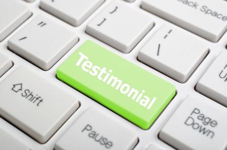 Green testimonial key on keyboard Stock Photo - 18002569