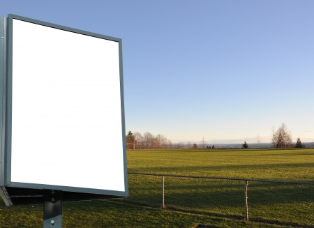 Large blank, empty, white billboard screen, for your advertisement and design   photo