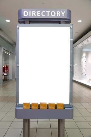 business directory: Large blank, empty, white billboard screen, for your advertisement and design