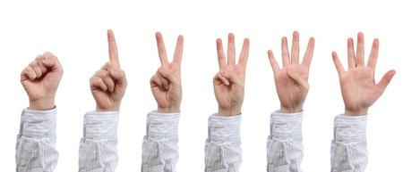 Hand count zero to five Stock Photo - 18295266
