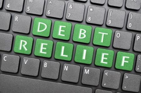 Green debt relief  key on keyboard