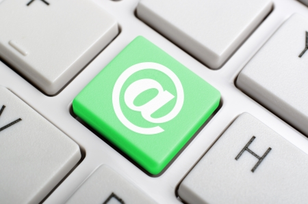 Keyboard At Sign Showing E-mail Symbol For Message Stock Photo - 18585594