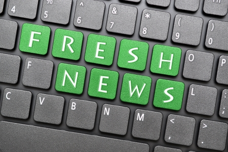 fresh news: Green fresh news key on keyboard Stock Photo