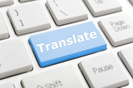 Blue translate key on keyboard Stock Photo - 18776482