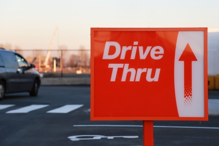 coffee hour: Drive thru road sign for your restaurant