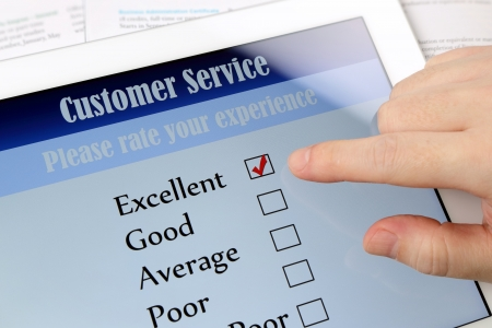 Customer service on-line survey on screen  photo