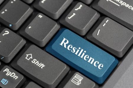 Blauw veerkracht op het toetsenbord