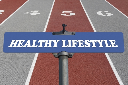 Healthy lifestyle road sign photo
