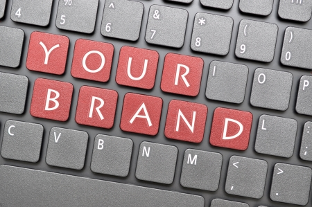 online privacy: Red your brand key on keyboard