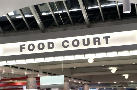 negocios comida: Signo de comidas en el centro comercial Foto de archivo