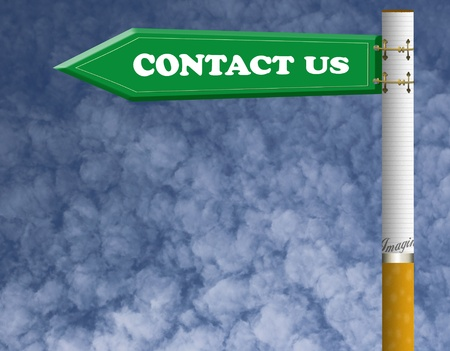 Contact us road sign with imagine cigarette pillar  photo