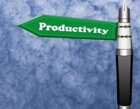 Productivity road sign with fountain pen pillar  photo