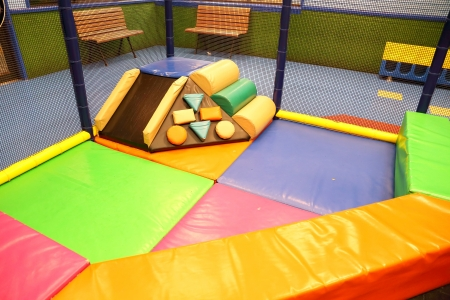 Abstract photograph featuring childrens play equipment at a fast food restaurant  photo