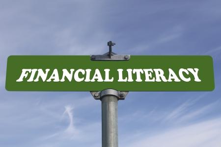 金融リテラシー道路標識 写真素材