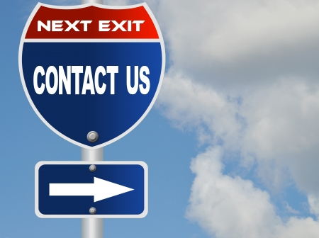 contact us: Contact us road sign Stock Photo