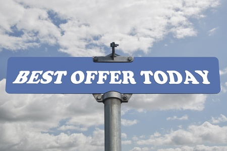 best: Best offer today road sign Stock Photo