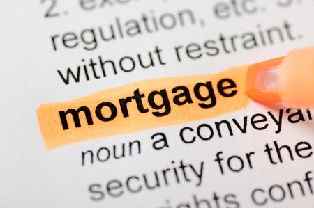 Orange marker on mortgage word