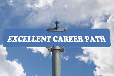 excellent: Excellent career path road sign  Stock Photo
