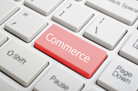 commerce: Red Commerce key on keyboard  Stock Photo