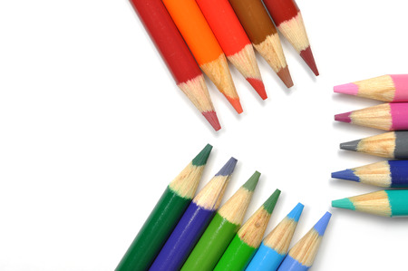 Colorful pen pattern on white background  photo