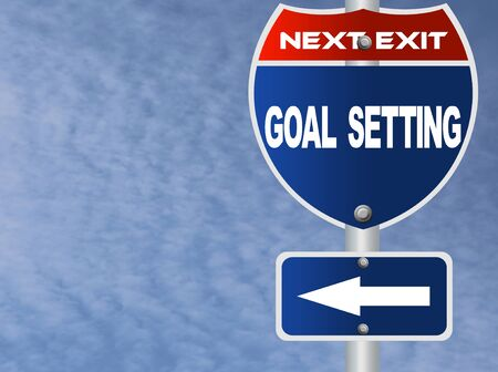 setting goal: Goal setting road sign
