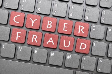 wor: Red cyber fraud on keyboard