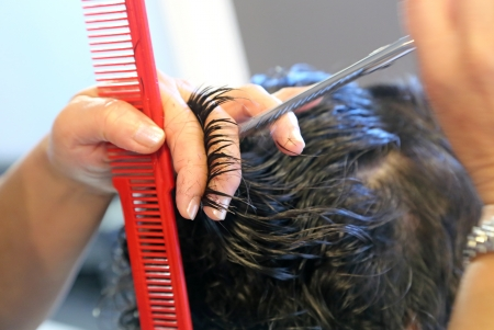 comb: Close up of beauticians hand with a comb cutting hair of woman