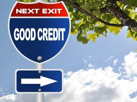 Good credit road sign