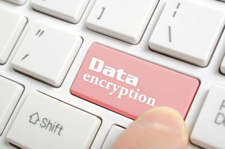 Pressing red data encryption key on keyboard  스톡 콘텐츠