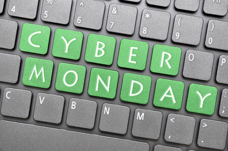 Green cyber Monday on keyboard