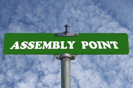 assembly point: Assembly point road sign Stock Photo