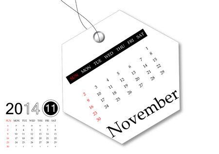 November of 2014 calendar for tag design photo