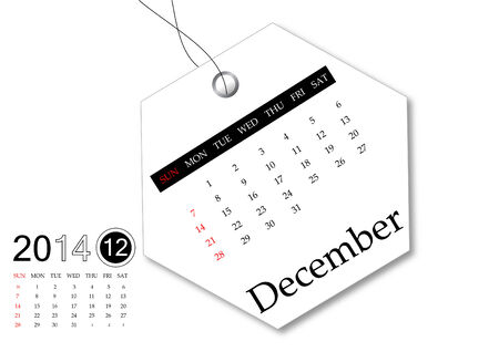 December of 2014 calendar for tag design photo