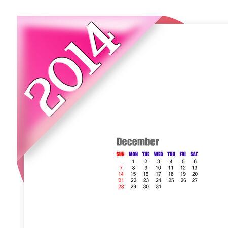 december: December of 2014 calendar