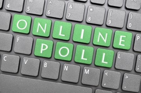 Green online poll key on keyboard
