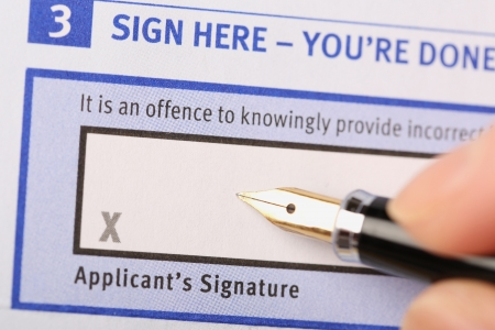 Applicant's signature Foto de archivo