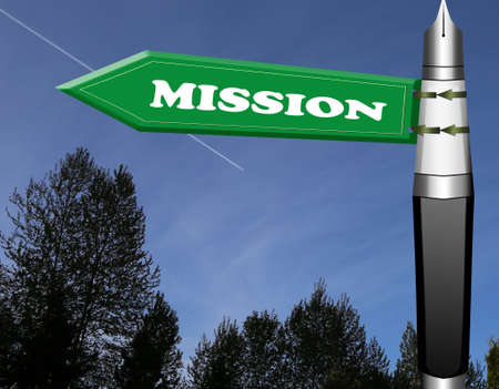 Mission road sign with fountain pen pillar Stock Photo