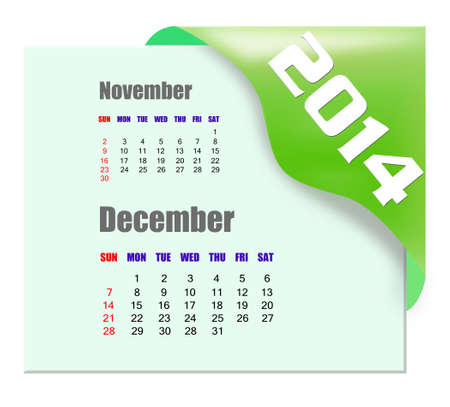 december calendar: 2014 dicembre calendario Archivio Fotografico
