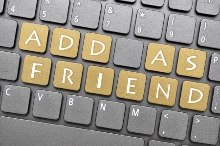 add as friend: Add as friend on keyboard