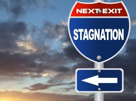 stagnation: Stagnation road sign  Stock Photo