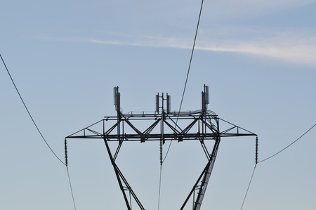 high powered: Pylon and transmission power line