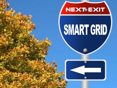 Smart grid road sign  Imagens