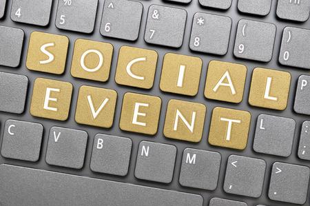 evento social: Clave de evento social en el teclado Foto de archivo