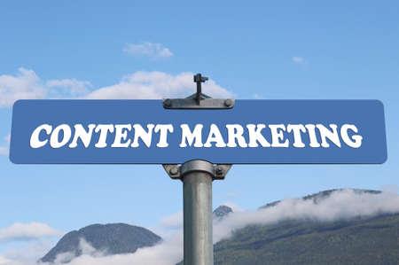 financial metaphor: Content marketing road sign