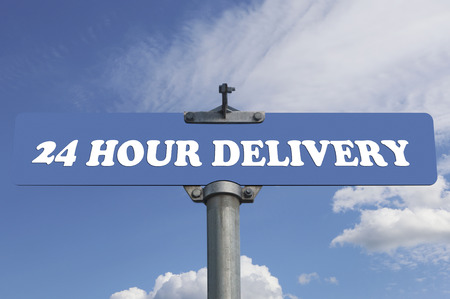 24 hour: 24 hour delivery road sign