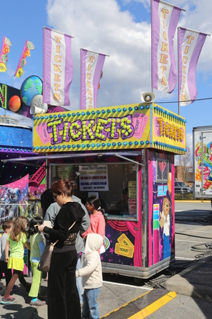 Coquitlam BC Canada - April 13 2014 : Ticket Booth at a Carnival in Coquitlam BC Canada.  Stock Photo - 28085578