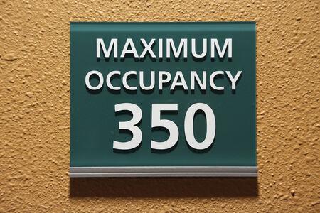 Maximum occupancy 350 sign  Stock Photo