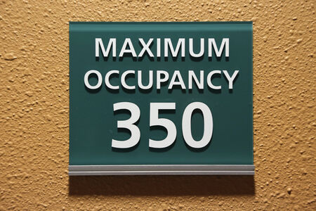 occupancy: Maximum occupancy 350 sign  Stock Photo