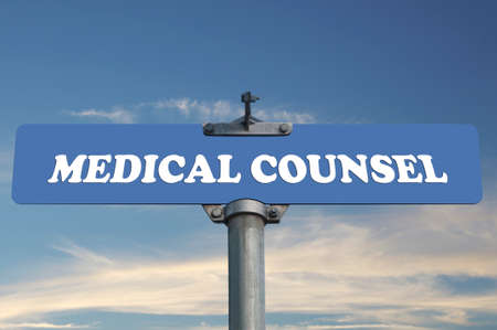counsel: Medical counsel road sign Stock Photo