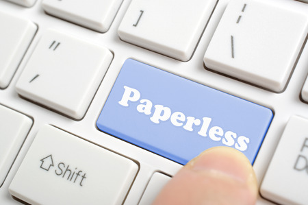 paperless: Blue paperless key on keyboard